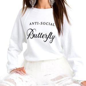 WILDFOX 'ANTI-SOCIAL BUTTERFLY' SWEATSHIRT NWT